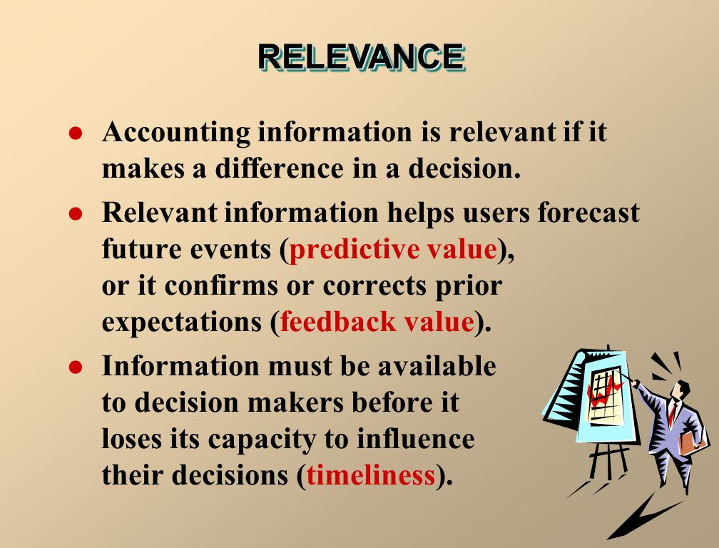 RELEVANCE Accounting information is relevant if it makes a difference in a decision.