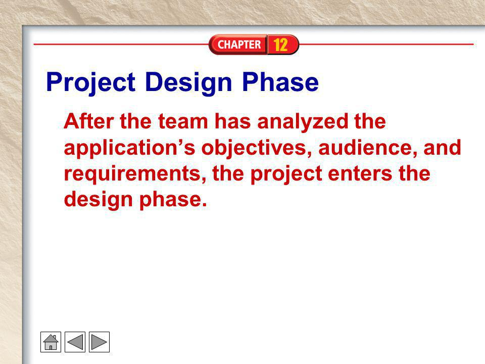 Project Design Phase After the team has analyzed the application's objectives, audience, and requirements, the project enters the design phase.