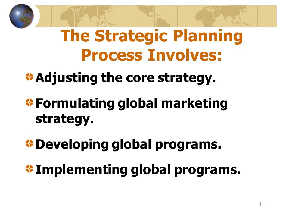The Strategic Planning Process Involves: