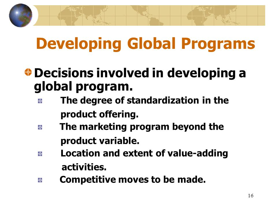 Developing Global Programs