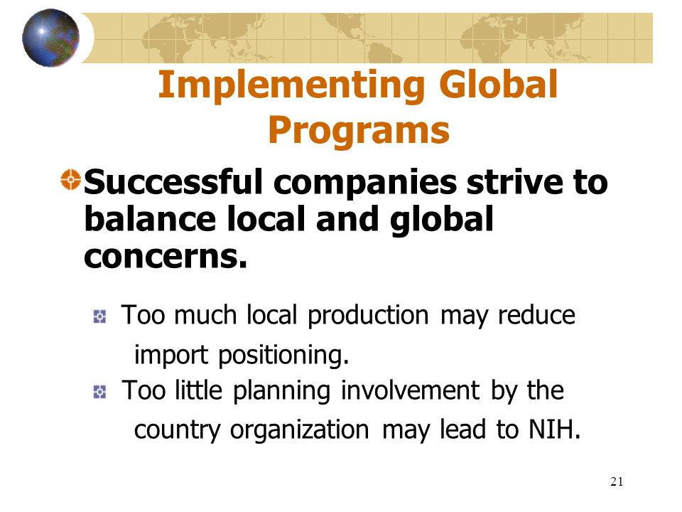 Implementing Global Programs