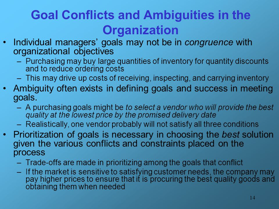 Goal Conflicts and Ambiguities in the Organization