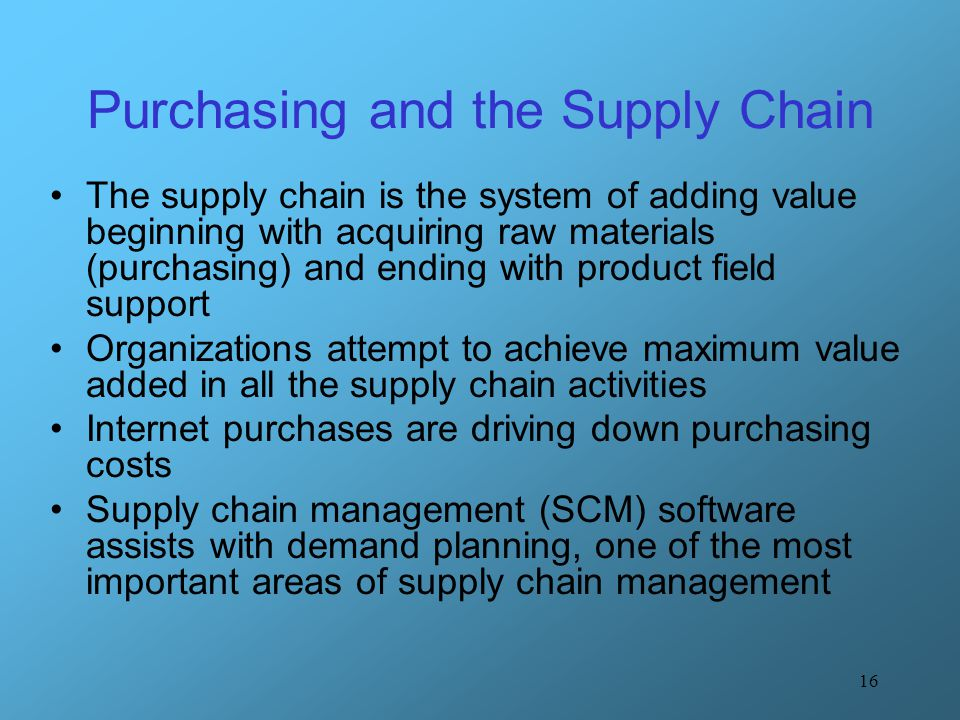 Purchasing and the Supply Chain