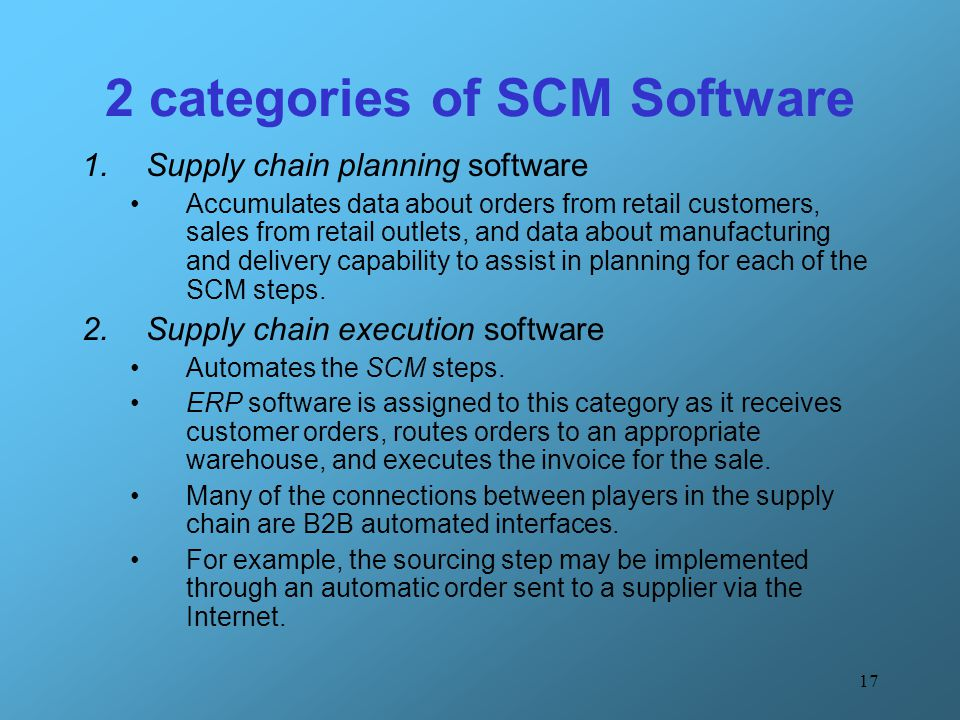 2 categories of SCM Software