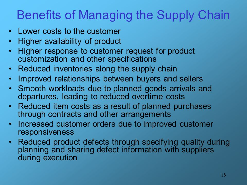 Benefits of Managing the Supply Chain