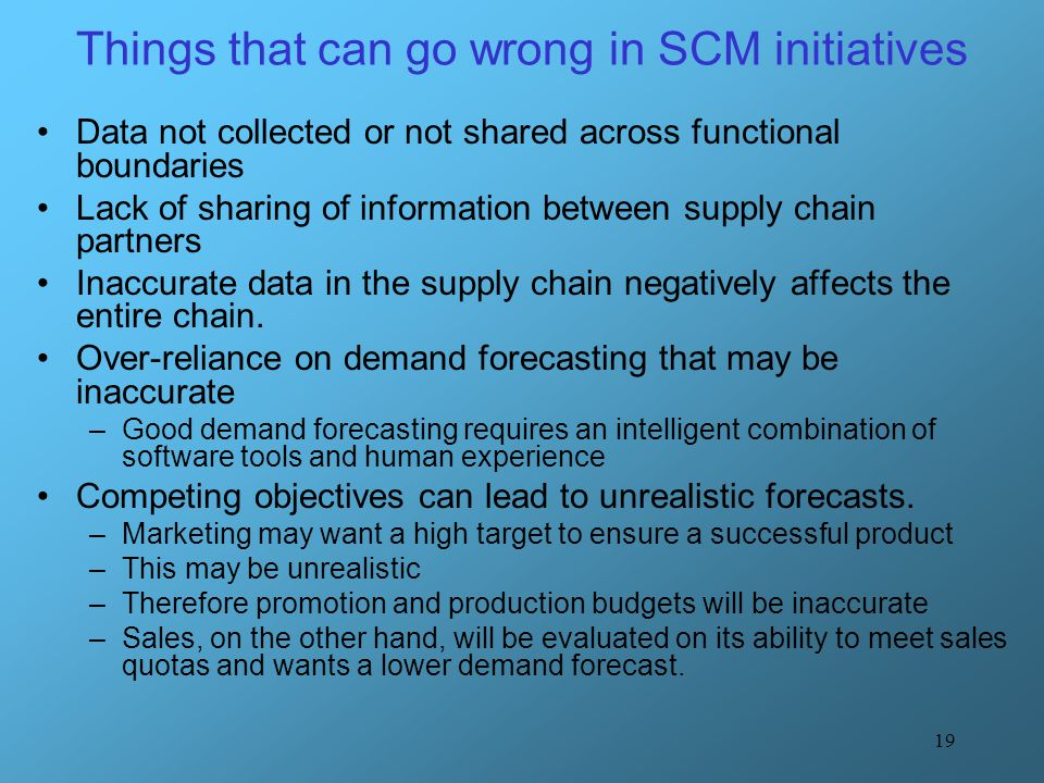 Things that can go wrong in SCM initiatives