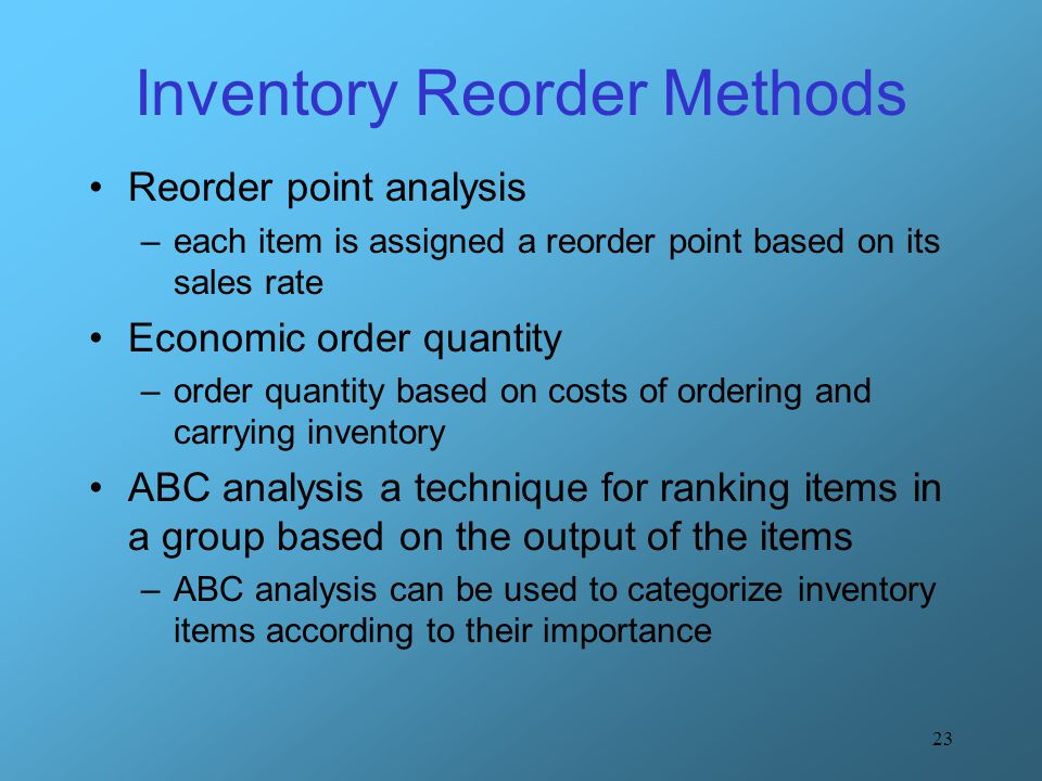 Inventory Reorder Methods
