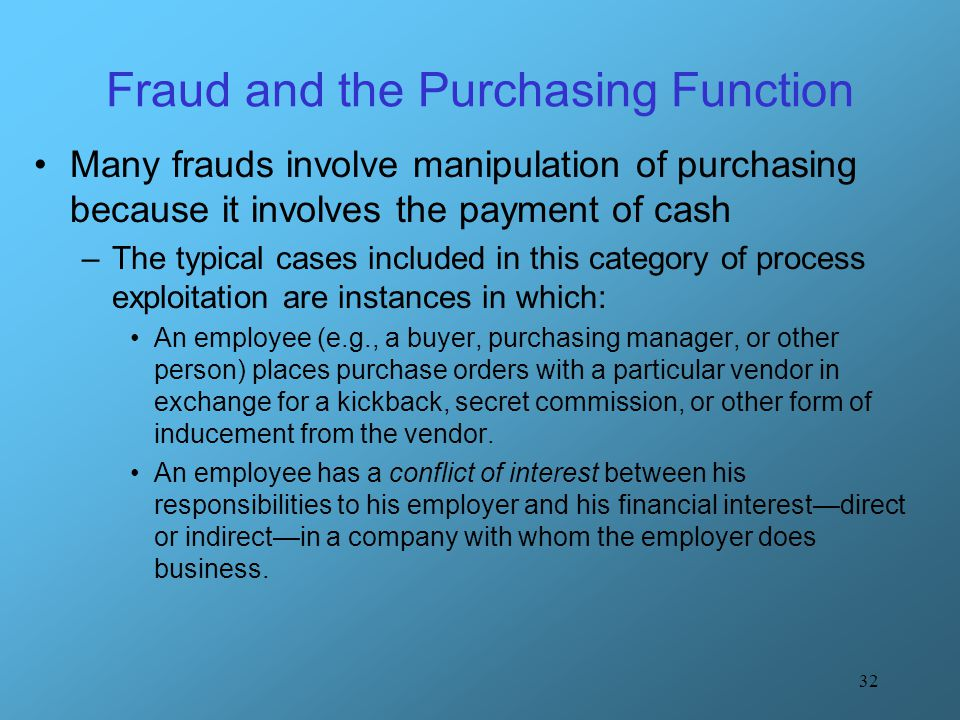 Fraud and the Purchasing Function