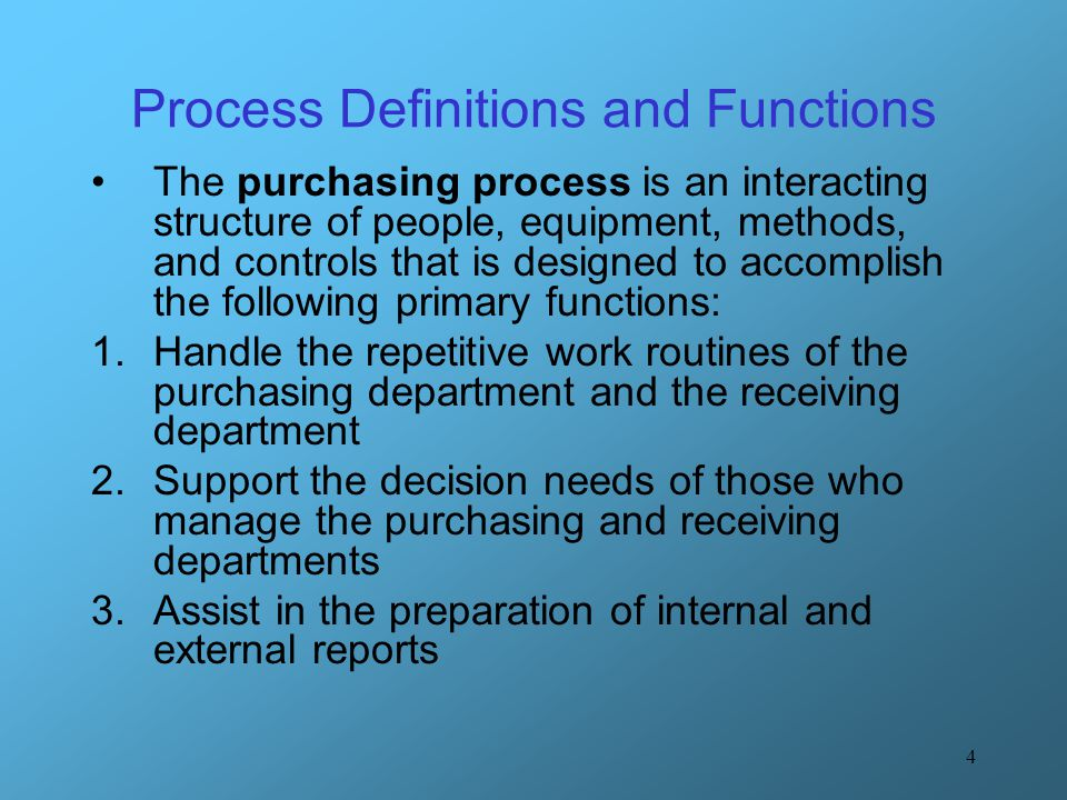 Process Definitions and Functions