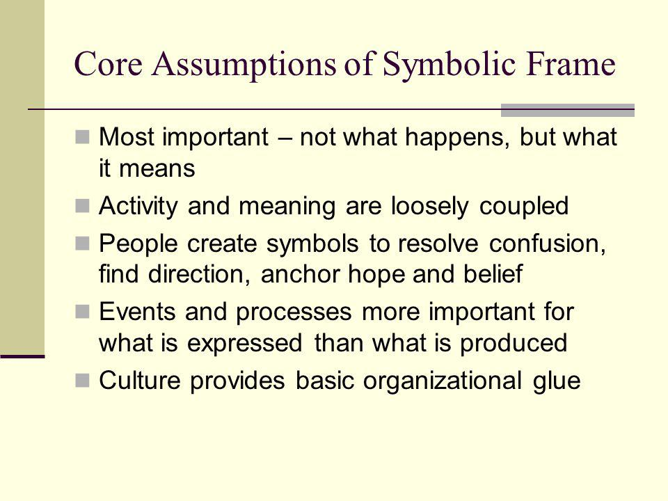 Core Assumptions of Symbolic Frame