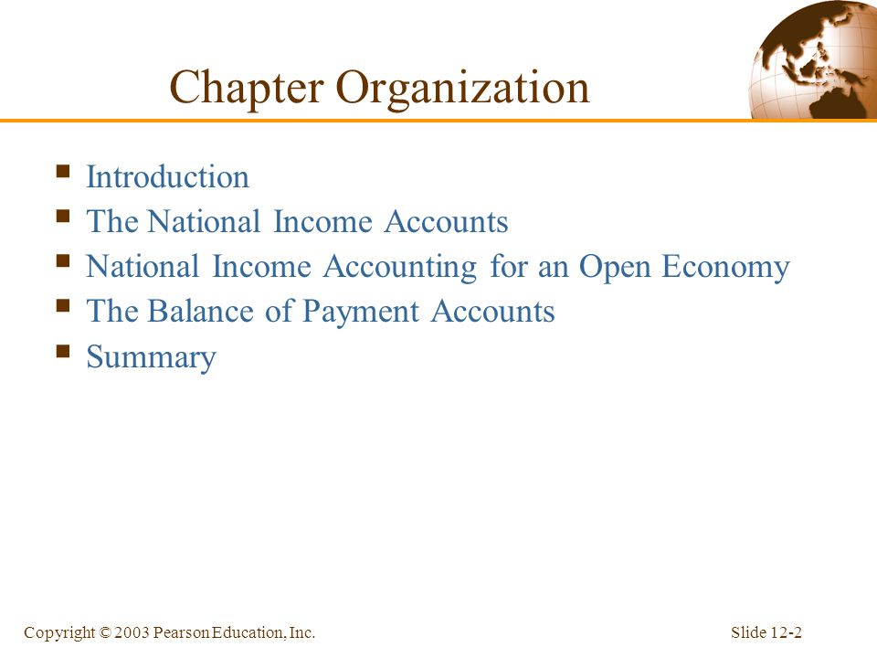 Chapter Organization Introduction The National Income Accounts
