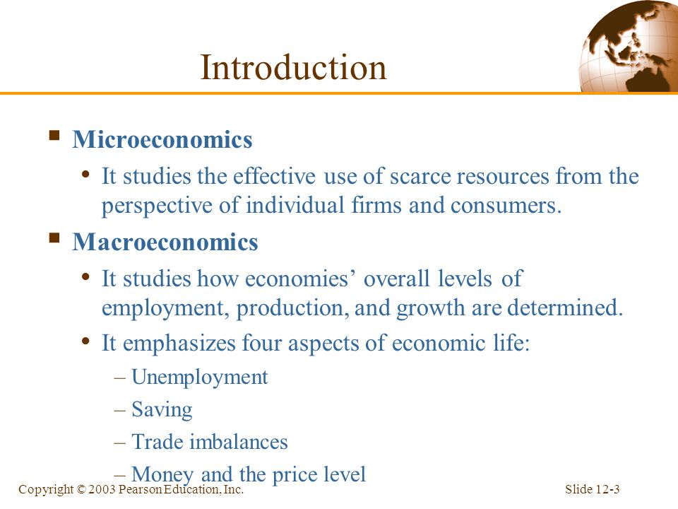 Introduction Microeconomics Macroeconomics