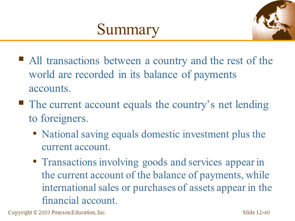 Summary All transactions between a country and the rest of the world are recorded in its balance of payments accounts.