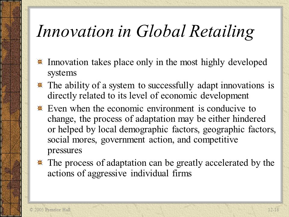 Innovation in Global Retailing