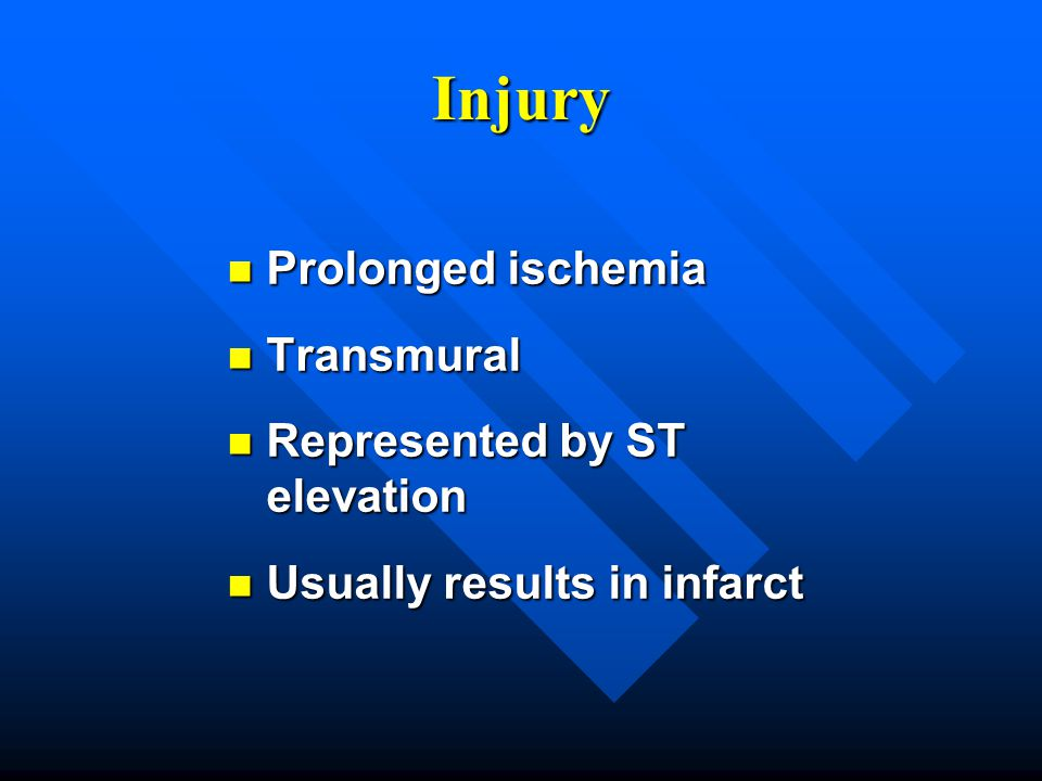 Injury Prolonged ischemia Transmural Represented by ST elevation
