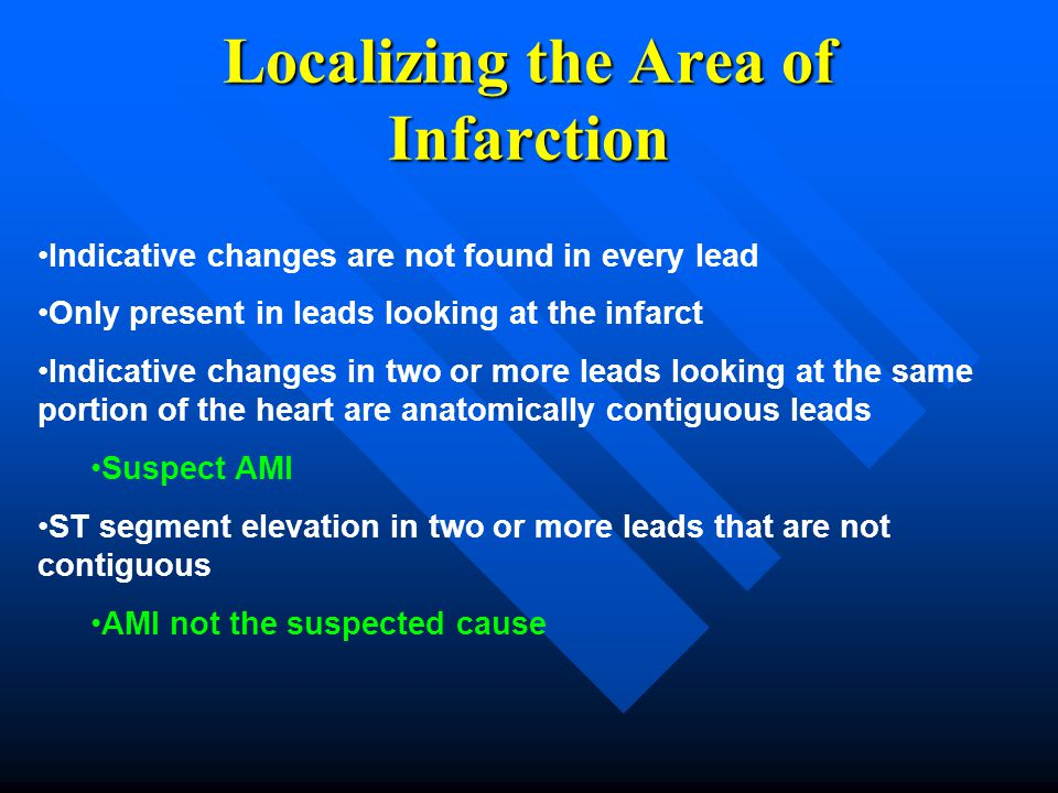 Localizing the Area of Infarction