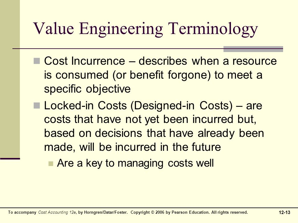 Value Engineering Terminology