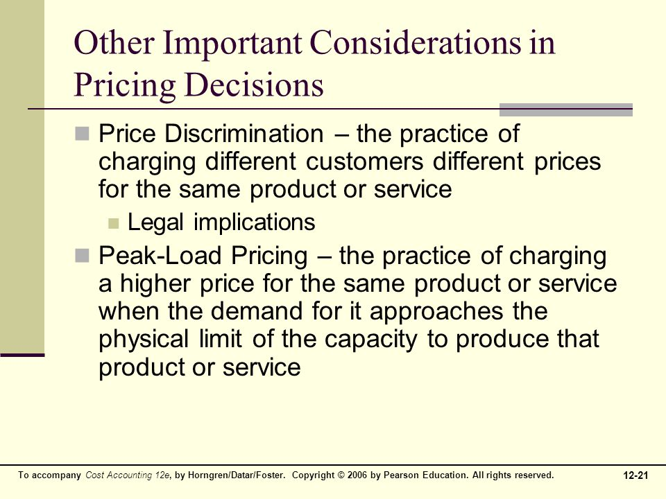 Other Important Considerations in Pricing Decisions
