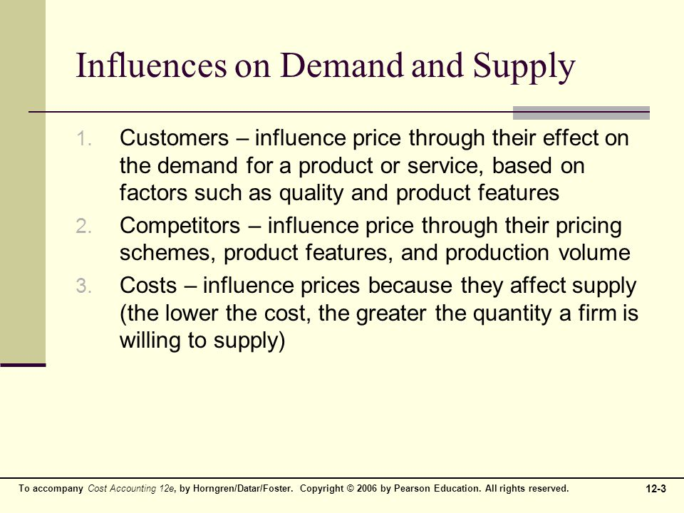 Influences on Demand and Supply