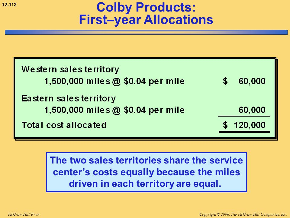 Colby Products: First–year Allocations