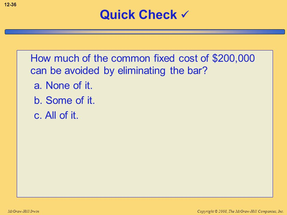 3-36 Quick Check  How much of the common fixed cost of $200,000 can be avoided by eliminating the bar