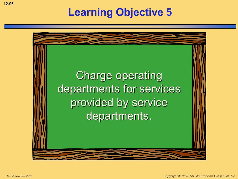 3-96 Learning Objective 5. Charge operating departments for services provided by service departments.