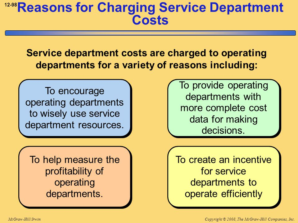 Reasons for Charging Service Department Costs