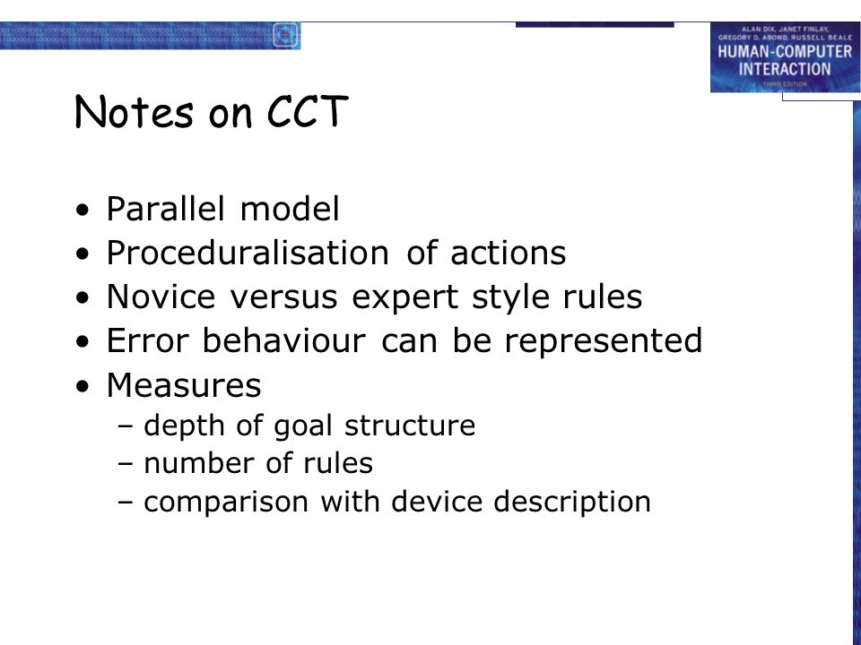 Notes on CCT Parallel model Proceduralisation of actions