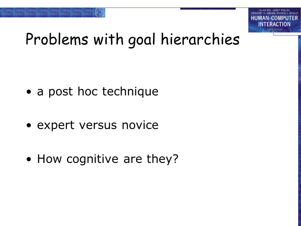 Problems with goal hierarchies