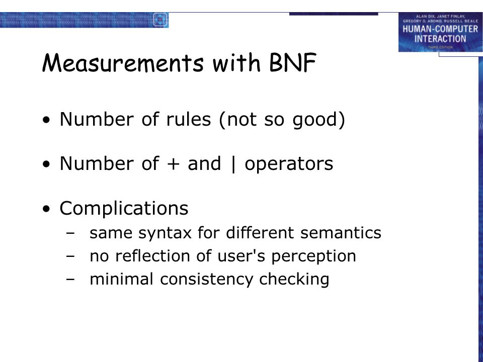 Measurements with BNF Number of rules (not so good)