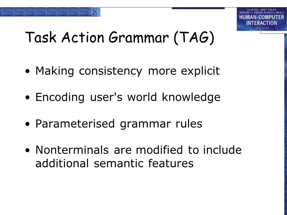 Task Action Grammar (TAG)
