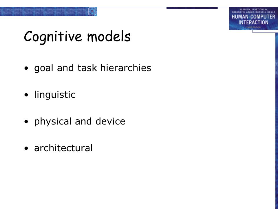 Cognitive models goal and task hierarchies linguistic