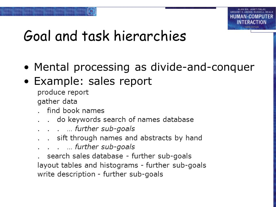 Goal and task hierarchies