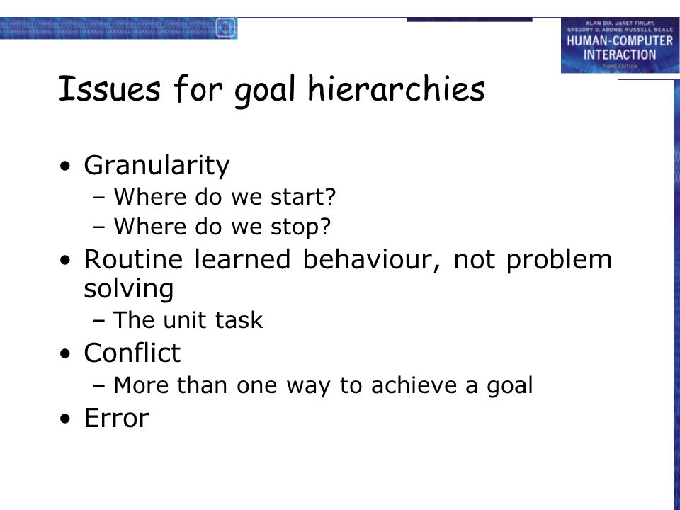 Issues for goal hierarchies