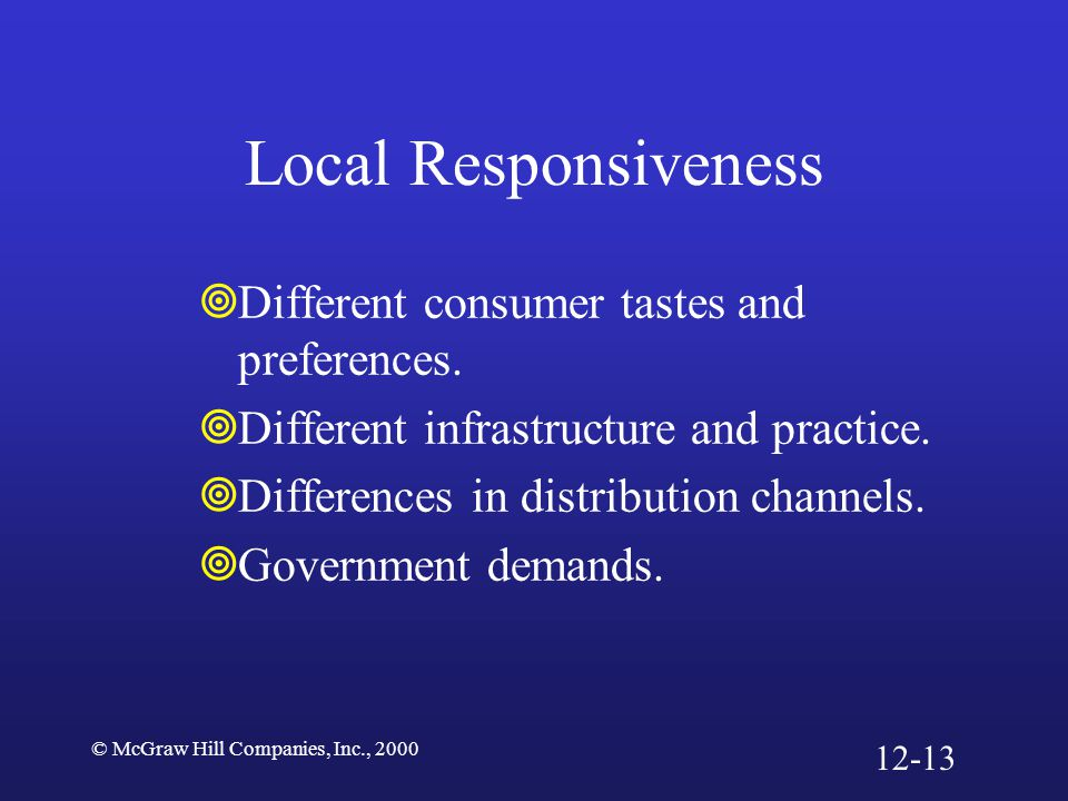 Local Responsiveness Different consumer tastes and preferences.