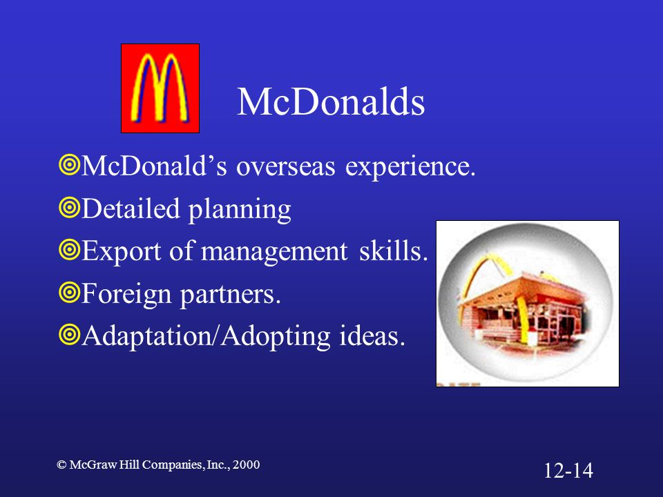 McDonalds McDonald's overseas experience. Detailed planning