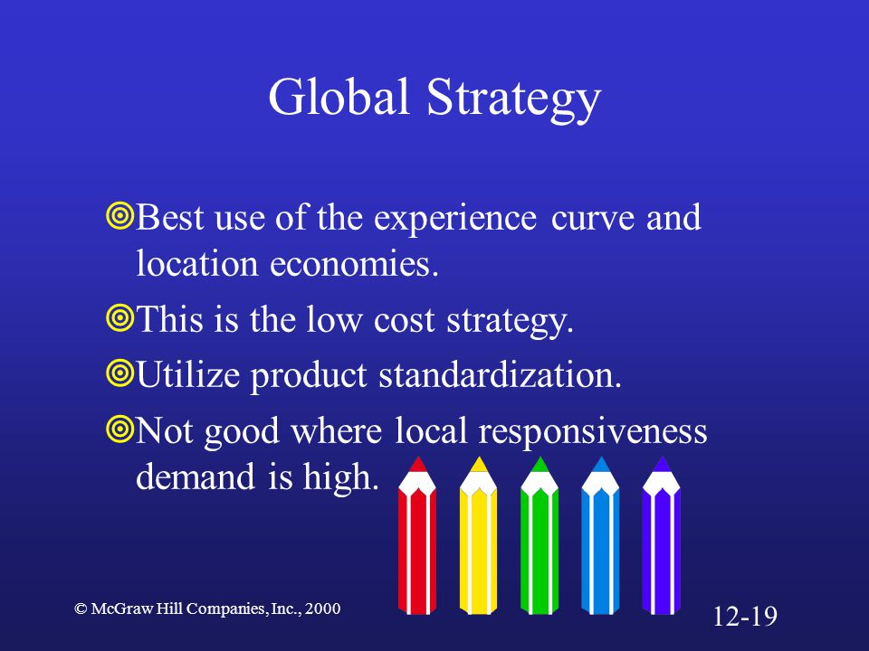 Global Strategy Best use of the experience curve and location economies. This is the low cost strategy.