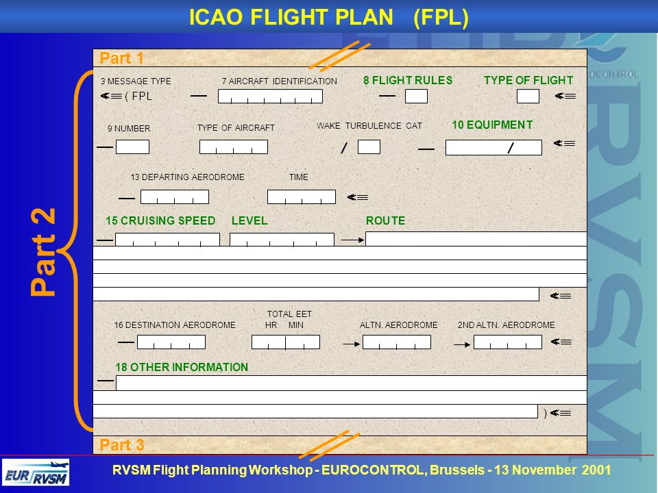 Part 2 ICAO FLIGHT PLAN (FPL) Part 1 Part 3 < < < < <