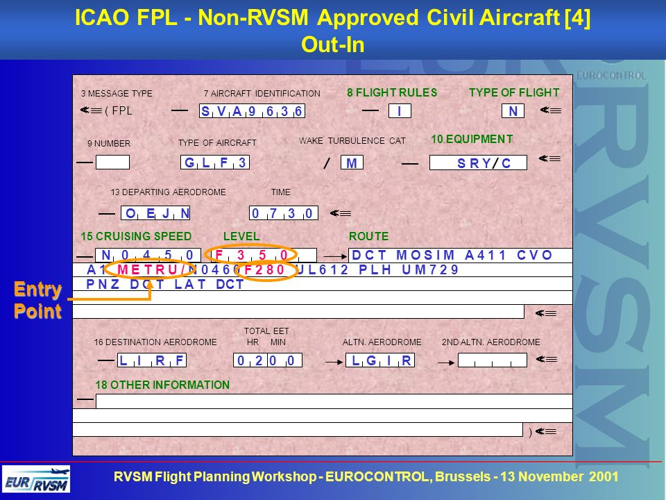ICAO FPL - Non-RVSM Approved Civil Aircraft [4]
