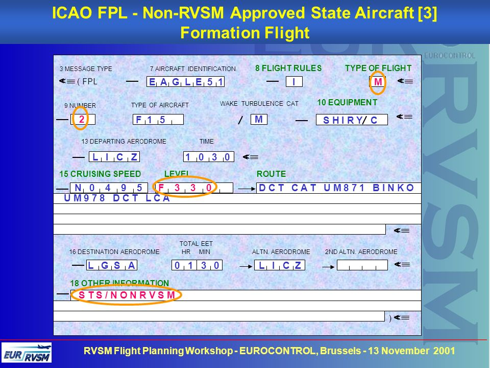 ICAO FPL - Non-RVSM Approved State Aircraft [3]