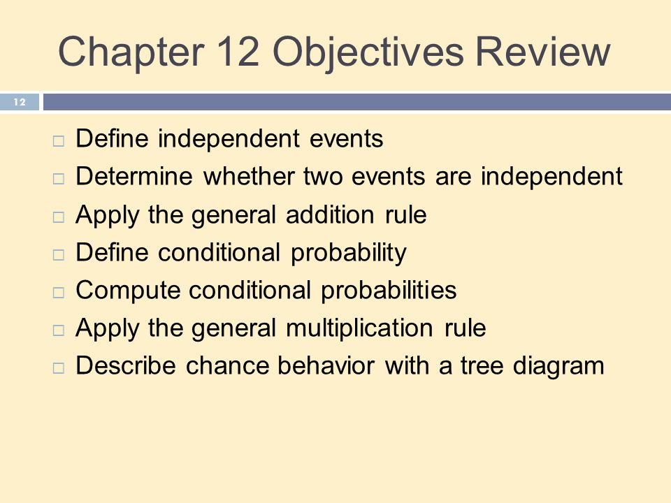 Chapter 12 Objectives Review