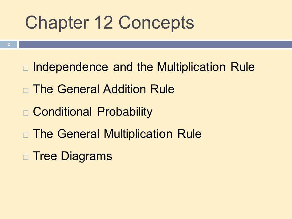 Chapter 12 Concepts Independence and the Multiplication Rule