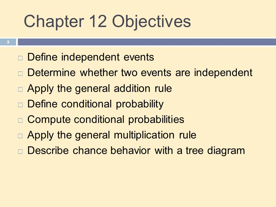 Chapter 12 Objectives Define independent events