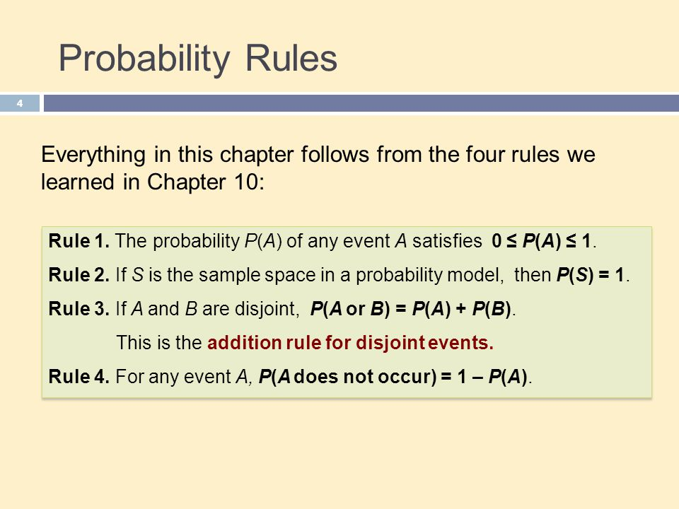 Probability Rules Everything in this chapter follows from the four rules we learned in Chapter 10: