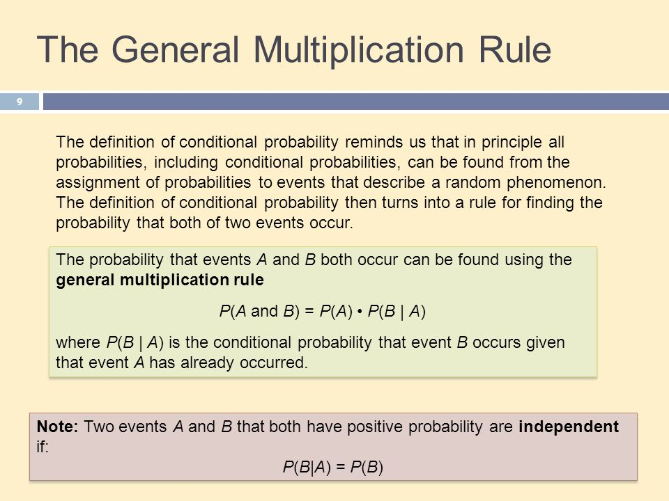 The General Multiplication Rule