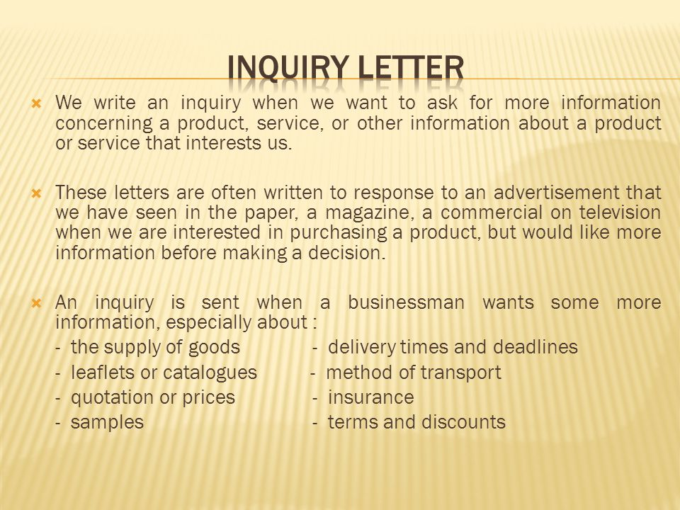 INQUIRY LETTER AND RESPONSE OF INQUIRY LETTER ppt video online