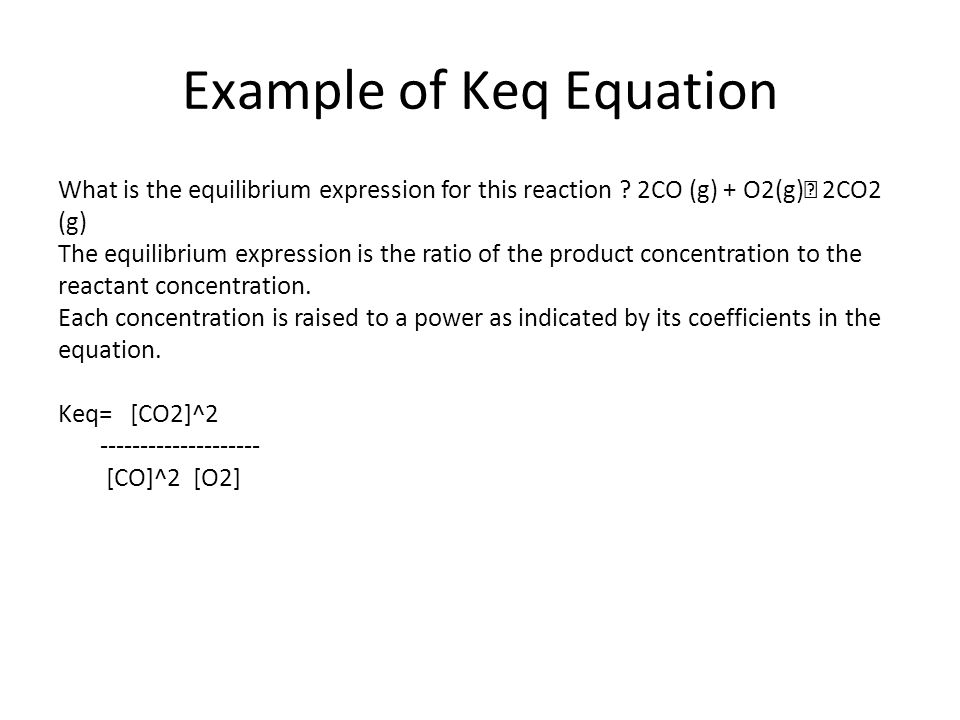 Example of Keq Equation