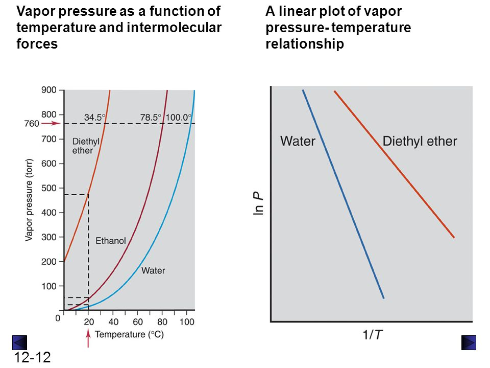 Vapor pressure as a function of temperature and intermolecular forces