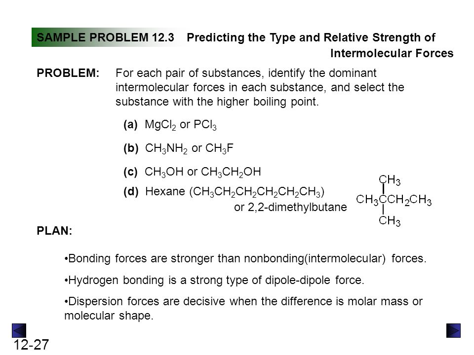 SAMPLE PROBLEM 12.3 Predicting the Type and Relative Strength of. Intermolecular Forces. PROBLEM: