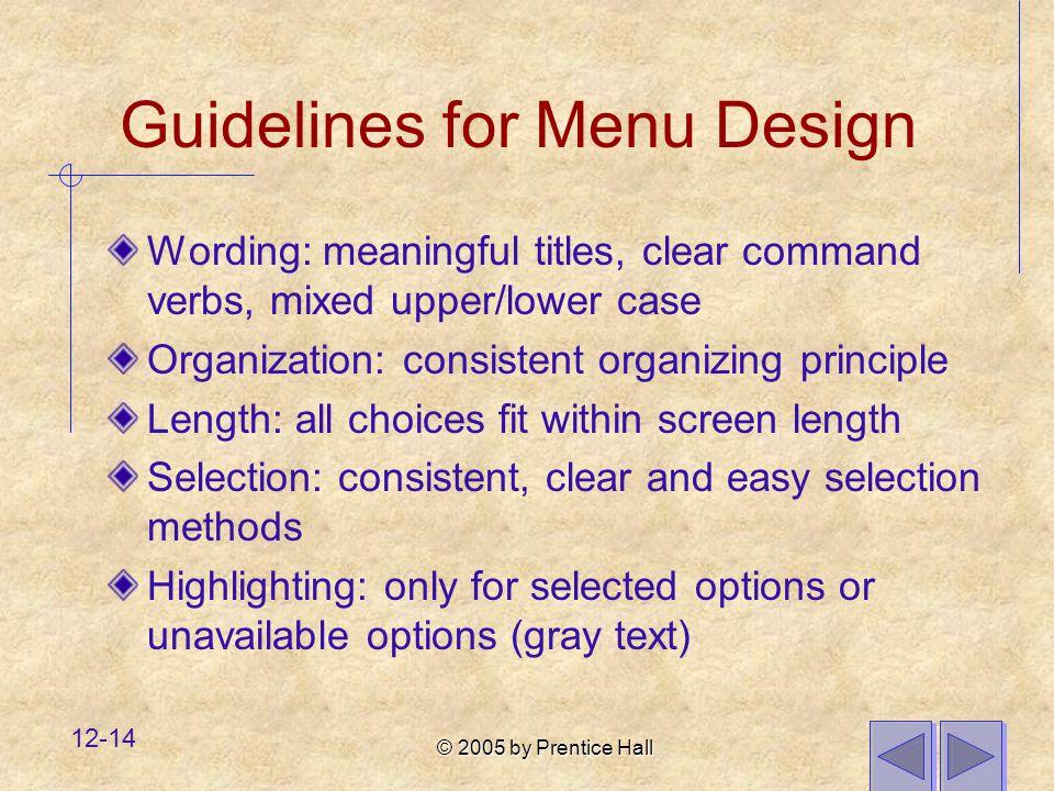 Guidelines for Menu Design